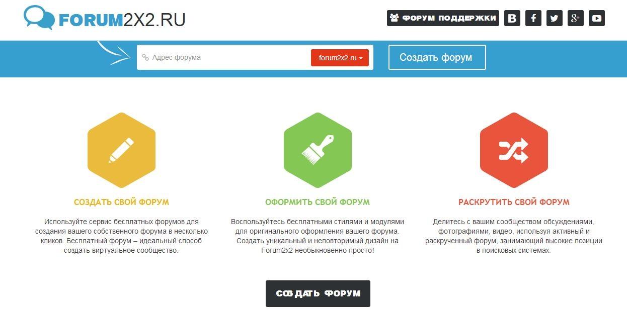 Преимущества создания форума на сайте Forum2x2.ru